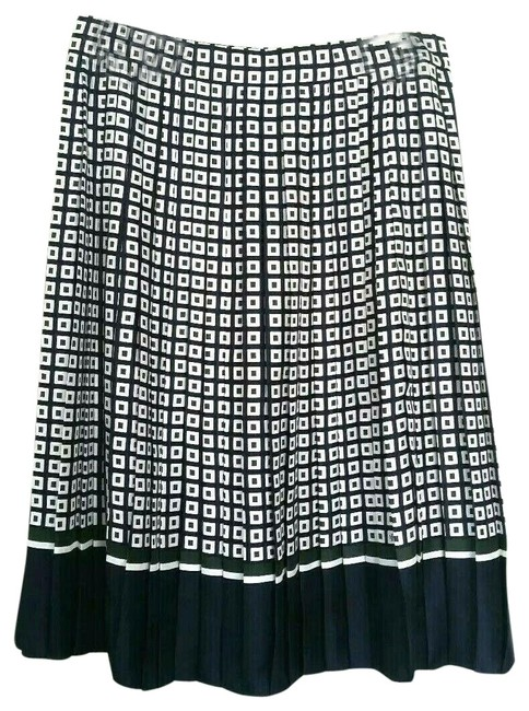 Tory Burch Navy White Green Silk Marea Skirt Size 8 (M, 29, 30) Tory Burch Navy White Green Silk Marea Skirt Size 8 (M, 29, 30) Image 1