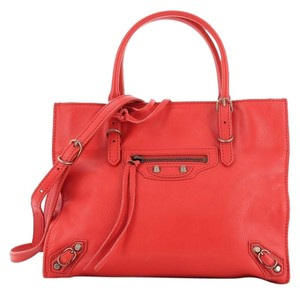 Balenciaga Studded Leather Satchel in Red
