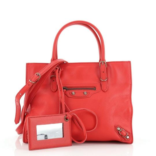 Balenciaga Studded Leather Satchel in Red Image 1