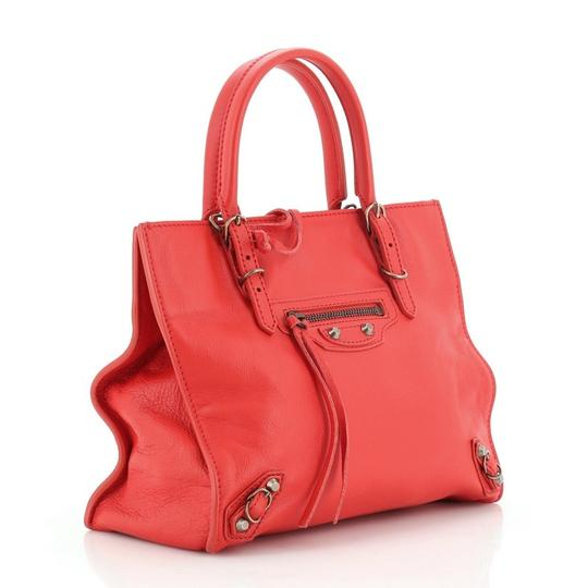 Balenciaga Studded Leather Satchel in Red Image 2