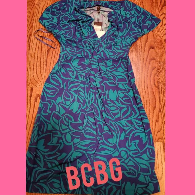 BCBGMAXAZRIA Turquoise & Navy Ckq6f672-a53 Mid-length Short Casual Dress Size 6 (S) BCBGMAXAZRIA Turquoise & Navy Ckq6f672-a53 Mid-length Short Casual Dress Size 6 (S) Image 1