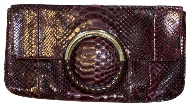 Item - Scorpio's Purple and Silver. Python Leather Metal Clutch