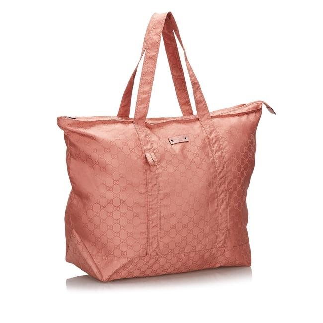 Item - Bag W Fabric Gg Italy W/ Pouch Pink Nylon Tote