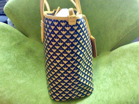 Bally Tote in mustard with black and purple print on the canvas Image 1