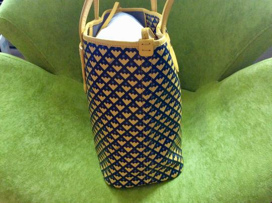 Bally Tote in mustard with black and purple print on the canvas Image 2