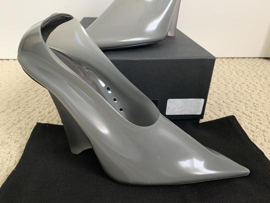 YEEZY Pvc Suede Pointed Toe Wedge Gray Pumps Image 10