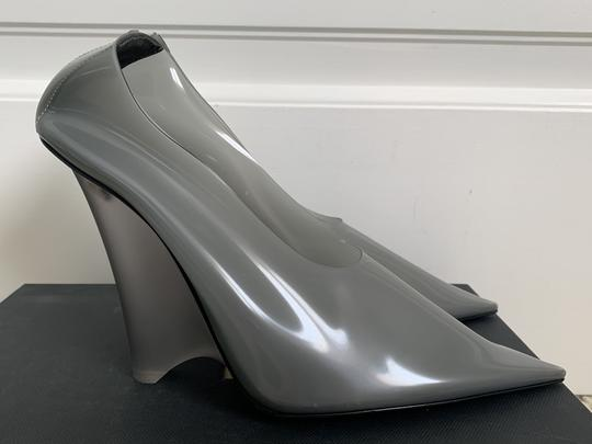 YEEZY Pvc Suede Pointed Toe Wedge Gray Pumps Image 2