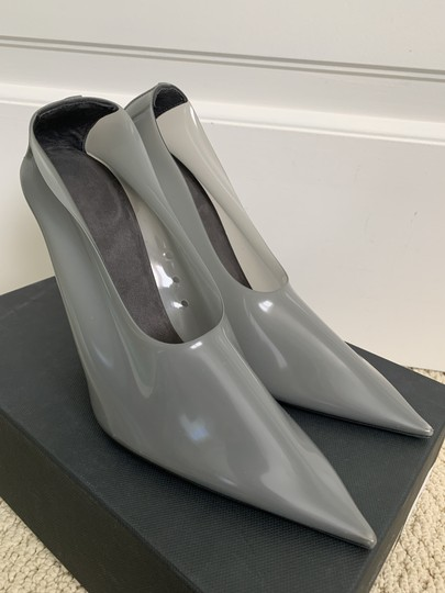 YEEZY Pvc Suede Pointed Toe Wedge Gray Pumps Image 3