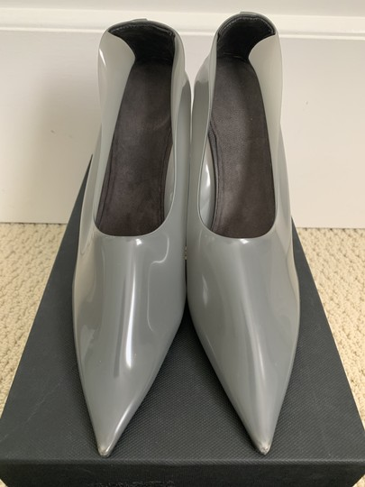YEEZY Pvc Suede Pointed Toe Wedge Gray Pumps Image 5