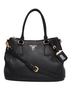 Prada Vitello Leather Convertible Phenix Tote in Black