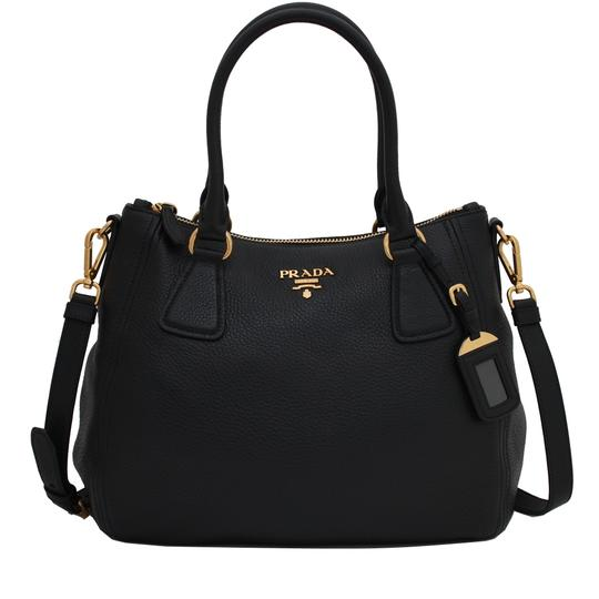 Prada Vitello Leather Convertible Phenix Tote in Black Image 1