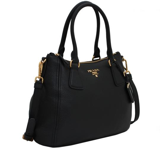 Prada Vitello Leather Convertible Phenix Tote in Black Image 2