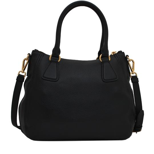 Prada Vitello Leather Convertible Phenix Tote in Black Image 3