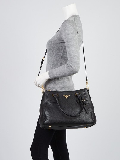 Prada Vitello Leather Convertible Phenix Tote in Black Image 5