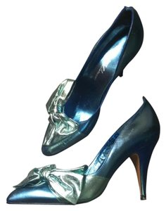 Beverly Feldman Metallic 80's Blue Pumps