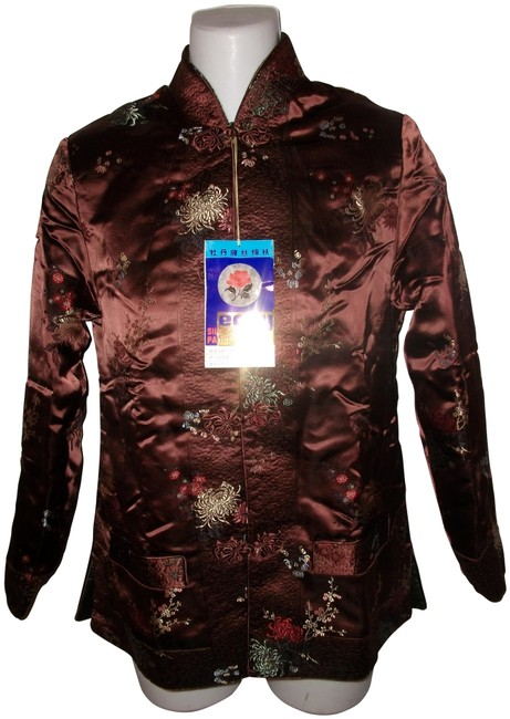 Preload https://img-static.tradesy.com/item/26252682/brown-and-green-new-peony-reversible-silk-wadding-padded-jacket-size-12-l-0-1-650-650.jpg