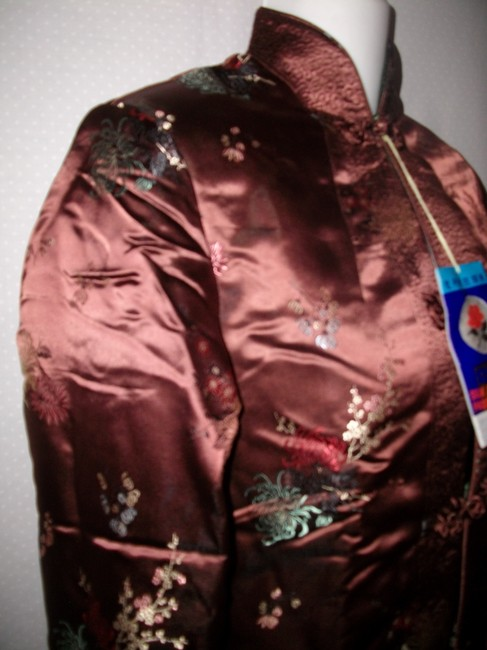 Other New Vintage Reversible Silk Embroidered Brown and Green Jacket Image 1