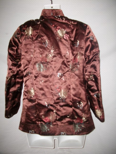 Other New Vintage Reversible Silk Embroidered Brown and Green Jacket Image 2