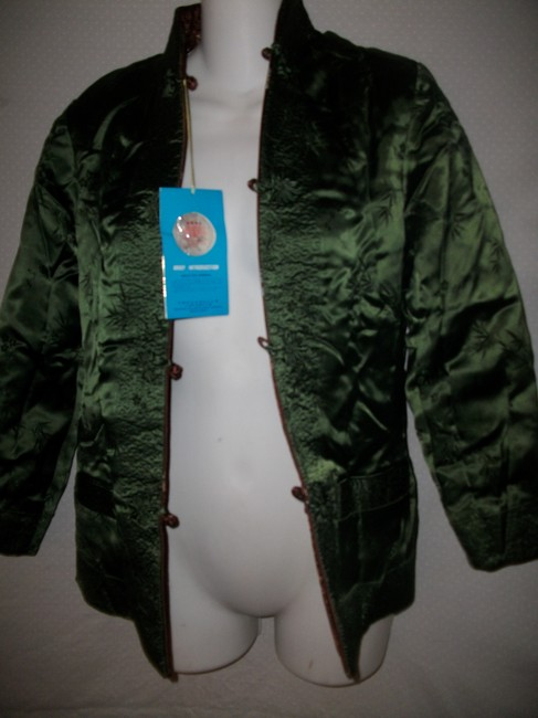 Other New Vintage Reversible Silk Embroidered Brown and Green Jacket Image 3