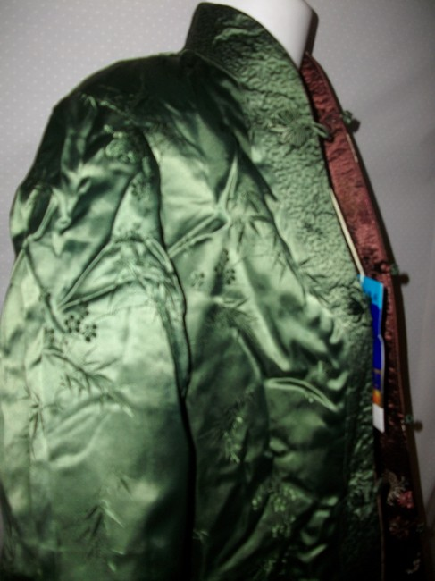 Other New Vintage Reversible Silk Embroidered Brown and Green Jacket Image 4