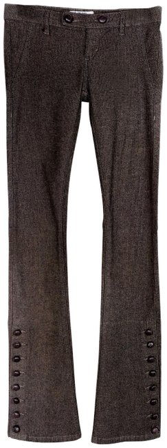 Item - Brown Grey Dark Rinse Skinny Herringbone Pants Flare Leg Jeans Size 24 (0, XS)