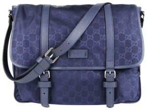 Gucci Monogram Gg Nylon Blue Messenger Bag