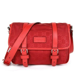 Gucci Monogram Gg Nylon Red Messenger Bag