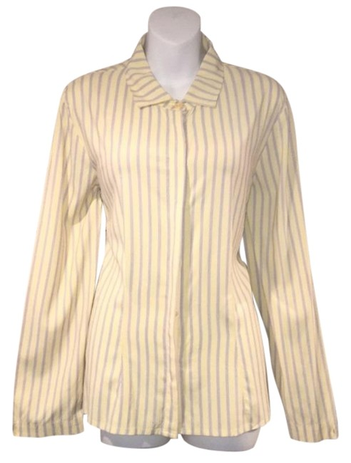 Item - Yellow Purple Striped Button Up Button-down Top Size 4 (S)