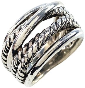 David Yurman David Yurman Sterling Silver 925 Crossover Wide Cable Ring Size 7.5