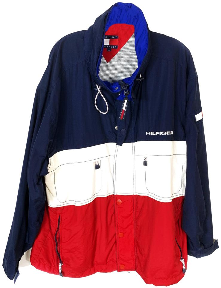 New Tommy Hilfiger Colorblocked Logo Rain Jacket Red//Navy Size Large