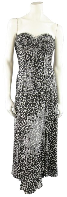 Item - Black & White Printed Silk Raw Edge Sequin Bustier Evening Gown Long Formal Dress Size 8 (M)