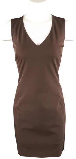 Item - Brown Classic Twill V Neck Sleeveless Shift Mid-length Cocktail Dress Size 4 (S)