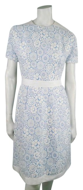 Item - White & Blue Spring 2013 Cocktail Mid-length Short Casual Dress Size 2 (XS)