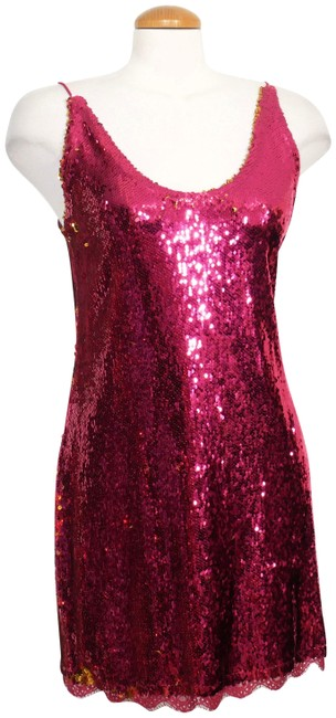 Item - Fuschia/Gold L Seeing Double Sequin Mini Stretch Slip Short Cocktail Dress Size 12 (L)