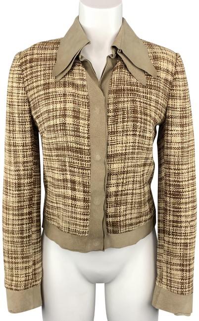 Item - Beige & Brown Woven Silk Leather Trim Jacket Size 8 (M)
