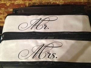 Bed Bath & Beyond Black and White Mr Mrs Chair Sashes Reception Decoration