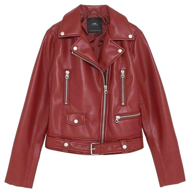 Item - Red New Faux Leather Moto Biker Jacket Size 4 (S)
