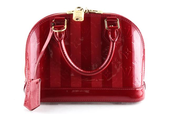 Item - Alma Rayures Bb Pomme D'amour Red Monogram Vernis Leather Cross Body Bag