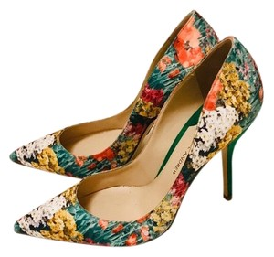 Paul Andrew Multi-colored floral print | Green Pumps