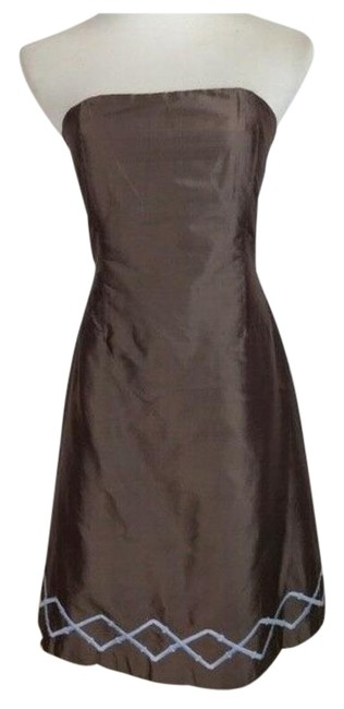 Item - Brown Strapless A-line Mid-length Cocktail Dress Size 8 (M)