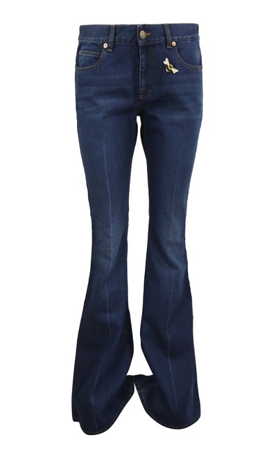 Item - Blue Dark Rinse With Patches Flare Leg Jeans Size 28 (4, S)