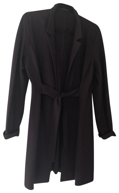 Item - Aubergine Long Coat with Front Tie Blazer Size 6 (S)
