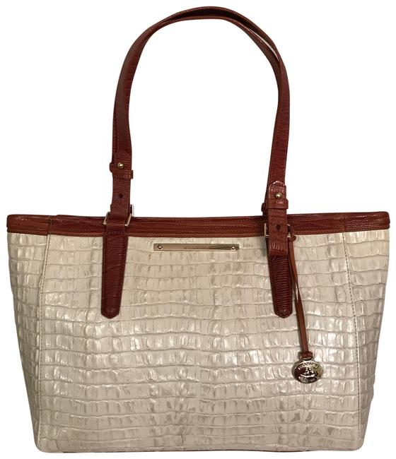 Item - Med Arno Macaroon La Scala Tri-textured White Brown Leather Tote
