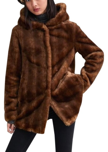 Item - Brown Faux Mink Hooded Jacket Coat Size 4 (S)