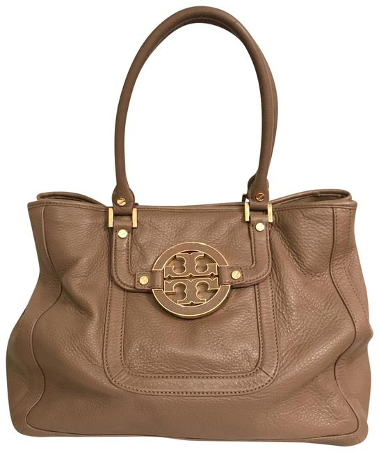 Item - Amanda Expandable Sides Brown Taupe Gold Leather Satchel