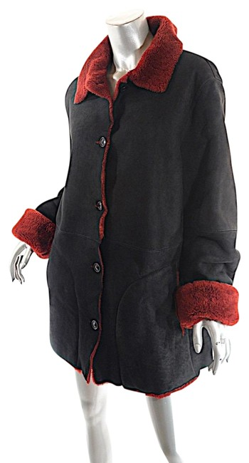 Item - Black Red + Deep Lambskin Shearling Coat Size 16 (XL, Plus 0x)