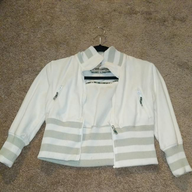 Item - White and Green Stripes Jacket Size 4 (S)