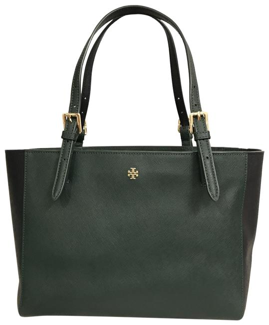 Item - York Color Block Buckle Green Blue Saffiano Leather Tote