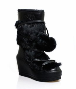 ASH Winter Wedge Rabbit Leather Black Boots