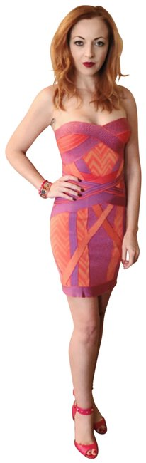 "Item - Orange Purple ""ibiza"" Pink Strapless Bandage Small 6 Short Night Out Dress Size 4 (S)"